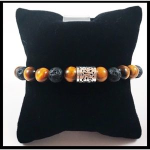 Men or women tiger eye lava rock silver charm